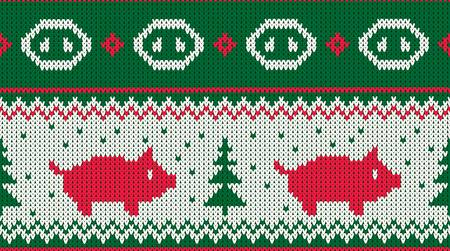 Christmas seamless knitted pattern with piglet and the fir christmas trees. Happy new 2019 year - chiness new year of the earth pig vector illustration.