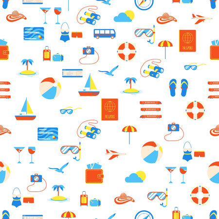 Seamless pattern with travel elements icons signs. Time to travel and adventures! Holiday vacations, summer trip. Suitcase, airplane, hat, beach ball, passport, island, compass, seagull, slippers.