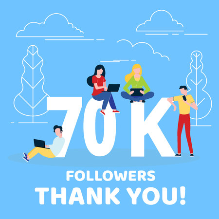 Thank you 70000 followers numbers postcard. People man, woman big numbers flat style design 70k thanks vector illustration isolated on blue background. Template for internet media and social network.