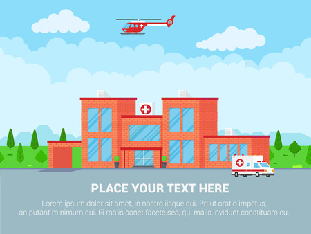 Medical center concept brick building, doctor, nurse, patients, helicopter and ambulance car flat style. Hospital building, doctors, nurses, woman in wheelchair, ambulance car, helicopter and houses.