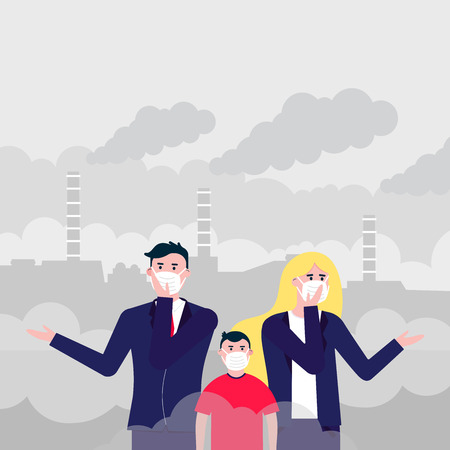 Confused man, woman, kid masks against smog. Fine dust, air pollution, industrial smog protection concept flat style design vector illustration. Clouds of smoke behind industrial plant