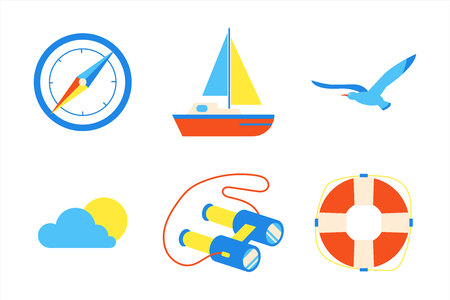 Holiday vacation beach elements flat style design set. Compass, sailboat, seagull, sun, cloud, binoculars, life buoy signs icons - symbols