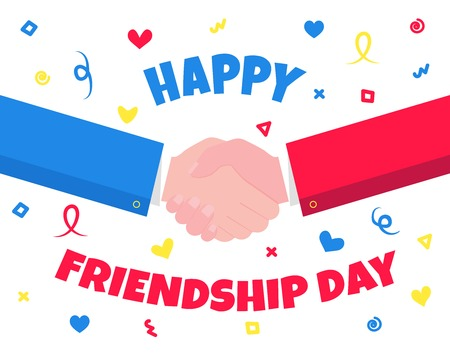 Happy friendship celebration celebration shaking hands flat style Symbol of celebration international friendship day. Together! Illusztráció