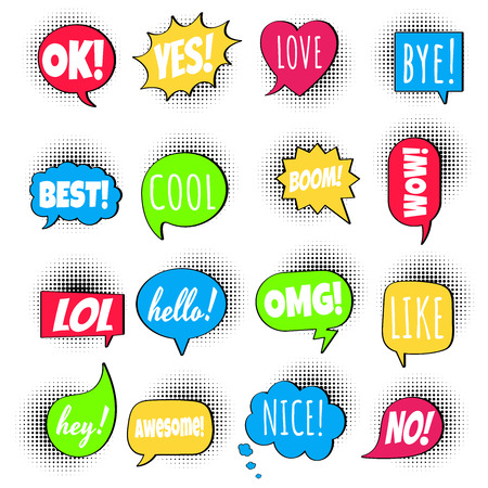16 Speech bubbles flat style design set on halftone with text; love, yes, like, lol, cool, wow, boom, yes, omg ... hand drawn comic cartoon style set