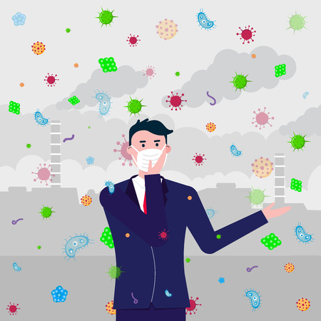 The man in mask, bacterias and viruses, who has been infected by air. Mask as protection against bacterias and viruses concept flat style vector illustration with factory behind. Illustration
