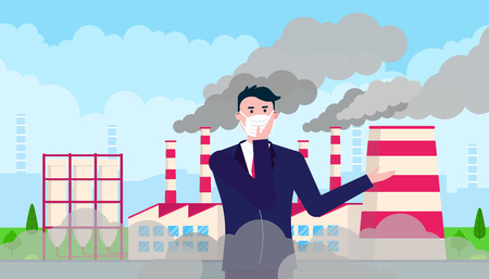 Confused man wearing mask against smog. Fine dust, air pollution, industrial smog protection concept flat style design vector illustration. Clouds of smoke behind.