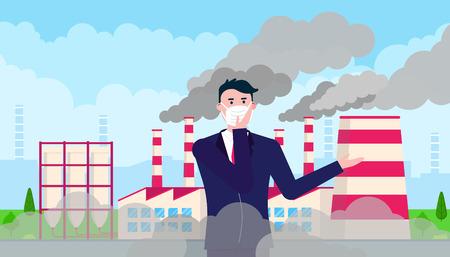 Verwarde man met masker tegen smog. Fijn stof, luchtvervuiling, industriële smog bescherming concept vlakke stijl ontwerp vectorillustratie. Rookwolken erachter. Vector Illustratie