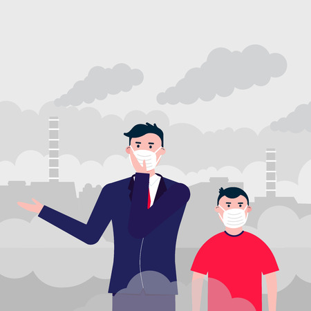 Confused man and kid in masks against smog. Fine dust, air pollution, industrial smog protection concept flat style design vector illustration. Clouds of smoke behind industrial plant Illustration