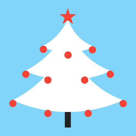 Christmas tree fir flat style design icon sign vector illustration. Symbol of family xmas holiday celebration isolated on white background. With balls and stars. Merry christmas, happy new year! Ilustrace