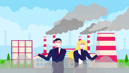 Confused man, woman in mask against smog. Fine dust, air pollution, industrial smog protection concept flat style design vector illustration. Clouds of smoke behind. Illustration
