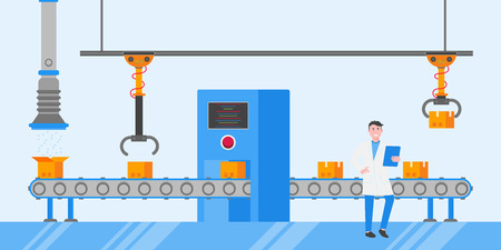 Smart industry 4.0 and technology line flat design style vector illustration concept. Line box and automated line 일러스트