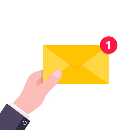 Hand hold yellow envelope letter with number 1 on it. E-mail concept new message or sms flat style design vector illustration isolated on white background. Message or sms delivering and notification.
