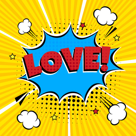 Comic Style Flat Design. Dynamic Pop Art Vector Illustration Isolated On Rays Background. Exclamation Concept Of Comic Book Style Pop Art Voice Phrase.