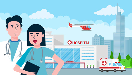Hospital concept with building, doctor, nurse, patients, helicopter and ambulance car in flat style. Hospital building, doctors, nurses, woman in wheelchair, ambulance car, helicopter and city behind.