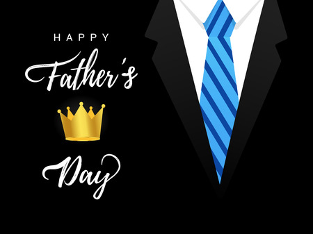 Happy Fathers day postcard flat style design vector illustration isolated on white background. Lettering words, suit, tie and golden crown - symbol ofs super dad.