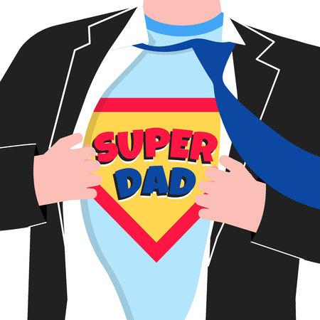 Male man in business suit, tie and t-shirt. Concept of super father.