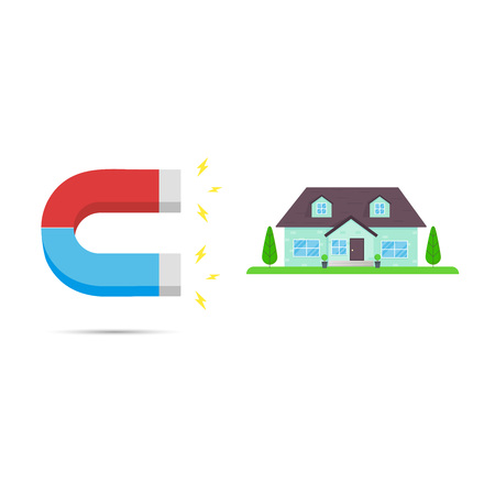 Red and blue horseshoe magnet icon sign attract house. Real estate concept flat style design vector illustration isolated on white background. Vektoros illusztráció