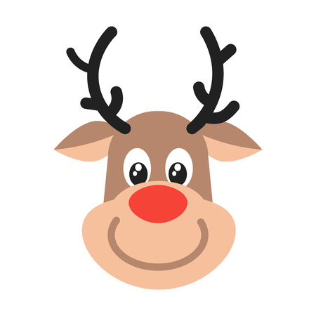 Reindeer head christmas flat style design vector illustration icon sign isolated on white background. Symbol of merry christmas and happy new year. 写真素材 - 117216007