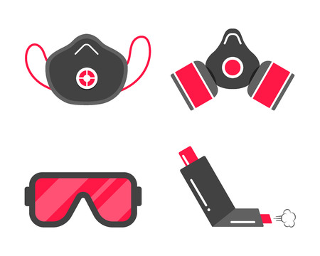 Smog safety first flat style design icon signs set. Gas mask, protective smog mask, inhaler, goggles mask. Symbols of protection against smog isolated on white background.