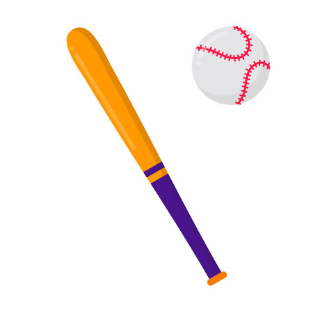 Baseball bat and ball Symbols of sport game baseball.