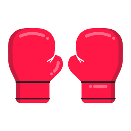 Red boxing gloves flat style design vector illustration icon isolated on white background. Symbols of the boxing sport game and emblem concept. Ilustração Vetorial