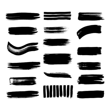 Collection of line texture Calligraphy brushes high detail abstract elements.