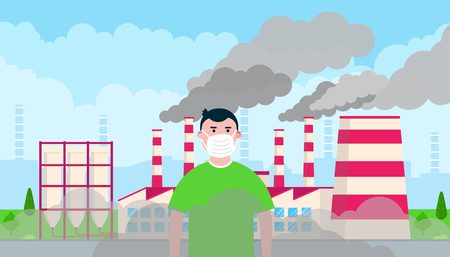Confused boy wearing massk against smog. Fine dust, air pollution, industrial smog protection concept flat style design vector illustration. Clouds of smoke Illustration