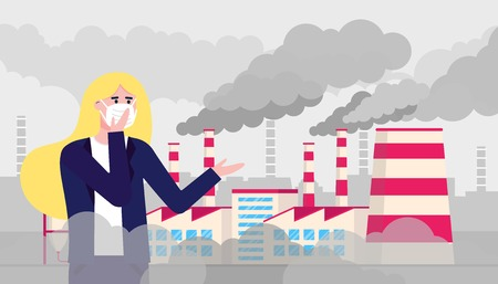 Confused woman wearing mask against smog. Fine dust, air pollution, industrial smog protection concept flat style design vector illustration. Clouds of smoke behind.