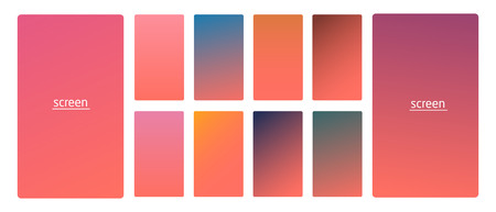 Vibrant and living smooth gradient soft colors coral palette for devices, pcs and modern smartphone screen backgrounds set vector ux and ui design illustration.