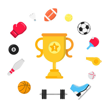 Sport gaming composition with balls - soccer, football, football. Trophy cup goblet tennis racket around. Sport equipment flat style design vector illustration isolated on white.