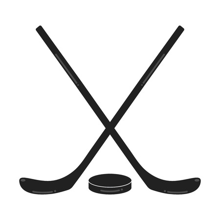 Two black hockey sticks and puck on white background. Symbols of the sport game ice hockey.