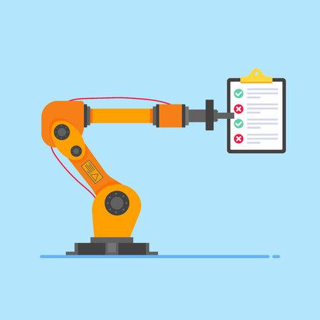 Blue background. Robot arm or hand. Industrial robot manipulator. Modern smart industry 4.0