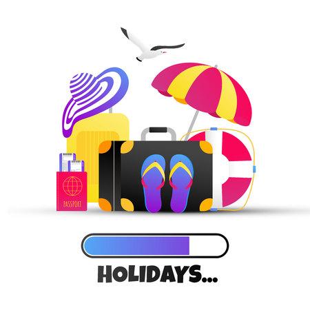 Summer holiday tropical vacation, beach hat, beach hat, flip flops, umbrella