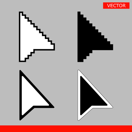 Black and white arrow pixel and no pixel mouse cursors icons signs vector illustration. Ilustração