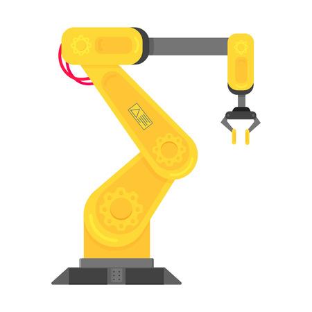 Icône de vecteur de conception de style plat bras robotique isolé sur fond blanc. Bras ou main de robot. Manipulateur de robot industriel. Fabrication de la technologie Smart Industry 4.0 moderne.