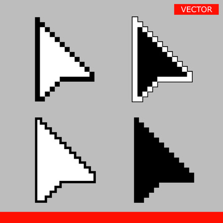 Black and white arrow pixel mouse pointer cursors icons signs vector illustration