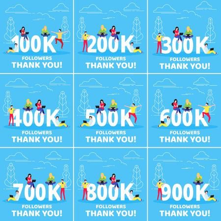 Thank you 100-900k followers numbers postcard set. Template for internet media and social network. Vector Illustration