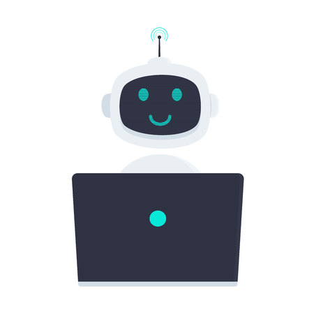 Robot chatbot icon sign sitting behind laptop notebook flat style design vector illustration isolated on white. Cute AI cat bot helper mascot character concept business assistant