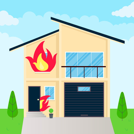 Burning house flames in the windows. Fire insurance concept accident.