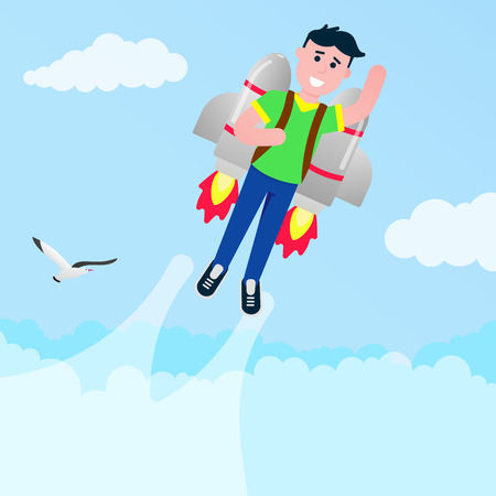 Boy flying with a rocket jetpack like a super hero pilot flat style design vector illustration. Young male person with flaming jetpack on his back.