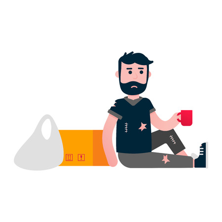 Homeless man sitting down with some cup. Poor people help concept flat style design vector illustration isolated on white background. Ilustração