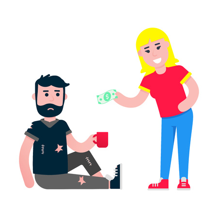 Volunteer helps homeless man with food. Take care of things flat style vector design isolated white background. Poor man and woman with banknote.