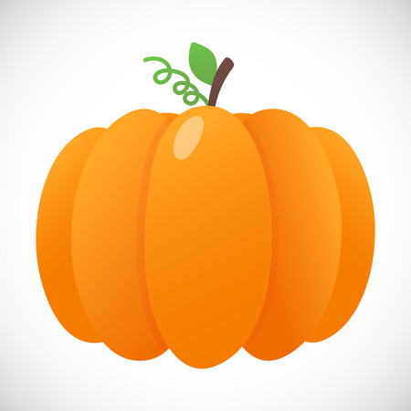 Orange pumpkin with leaf style and gradient colors. Autumn halloween, thanksgiving day pumpkin, vegetable graphic icon sign