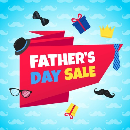 Father's Day red ribbon, golden crown, mustaches, bow tie and red ribbon. Ilustração