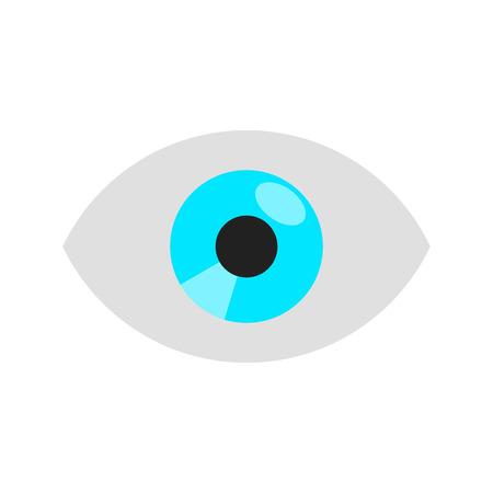Eye flat style design vector illustration isolated on white background icon sign. Çizim