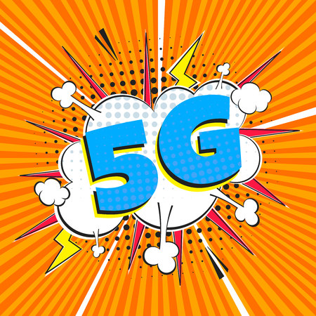 5G new wireless internet wifi connection wifi connection speech bubble exclamation 5g flat style design vector illustration isolated on rays background. New mobile internet 5g sign icon in balloon. 向量圖像