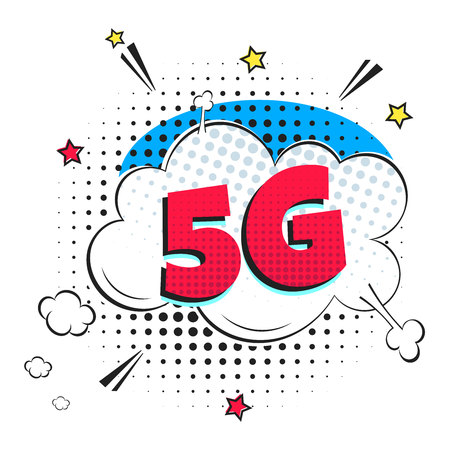 5G new wireless internet wifi connection wifi connection bubble text exclamation 5g flat style design vector illustration isolated on white background. New mobile internet 5g sign icon in balloon.