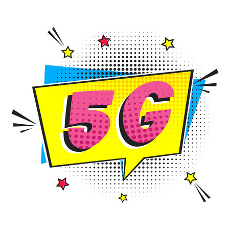 5G new wireless internet wifi connection wifi connection speech bubble exclamation text 5g flay style design vector illustration isolated on white background. New mobile internet 5g sign icon in balloon. 向量圖像