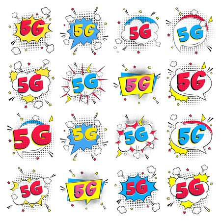 16 modern 5G wireless internet wifi connection comic style speech bubble exclamation text 5g flat style design vector illustration isolated on white background set. New mobile internet 5g sign icon.