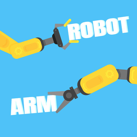 Two robotic arms with text ROBOT ARM flat style design background. Robot arms or hands. Industrial robot manipulator. Modern smart industry 4.0.
